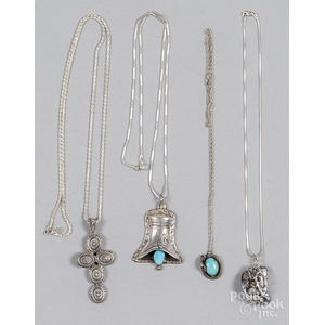 Four assorted sterling silver necklaces