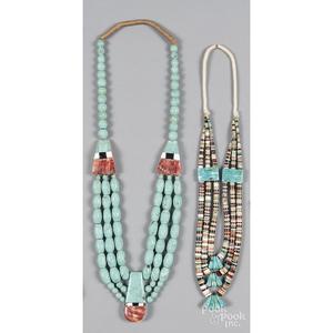 Southwestern Native American Pueblo three strand necklace