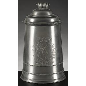 Fine Philadelphia pewter tankard, ca. 1780, attrib