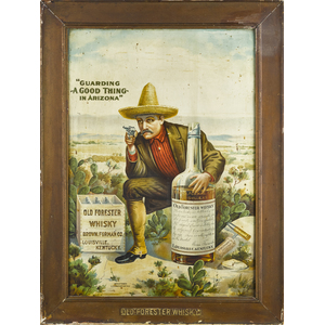 Lithograph tin advertising sign for Old Forester W