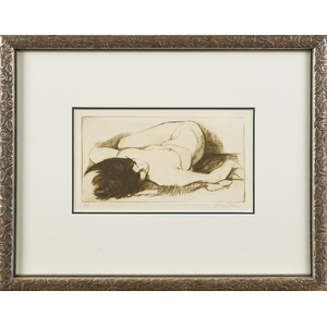 Limited edition etching of a nude woman, signed E.