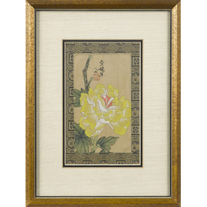 Pair of Japanese watercolor and silk panels, 7