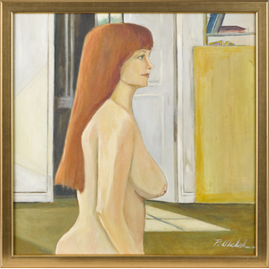 Oil on canvas portrait of a nude woman, titled Mic