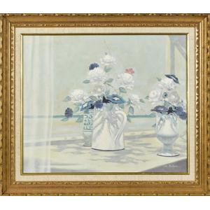 Oil on canvas still life, signed Les Bullene, of v