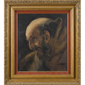 Oil on canvas portrait of a monk, late 19th c., 13