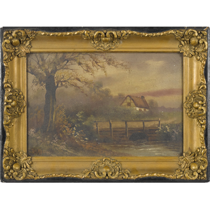 Oil on canvas landscape, ca. 1900, with a cottage,
