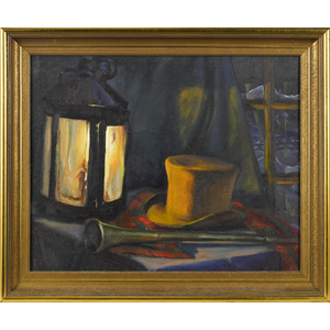 Oil on canvas still life of a top hat, hunting hor