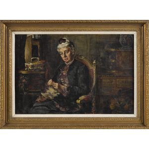 Oil on canvas of a woman knitting, late 19th c., 1