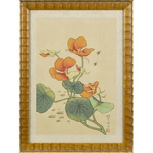 Pair of Japanese watercolor on silk panels, 12