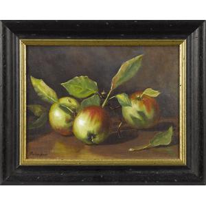 Oil on canvas still life of apples, signed Barbara