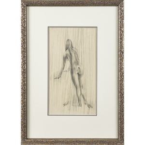 Pencil sketch of a nude woman, signed Trevi, 11