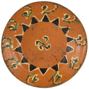 North Carolina redware dish, early 19th c., attrib