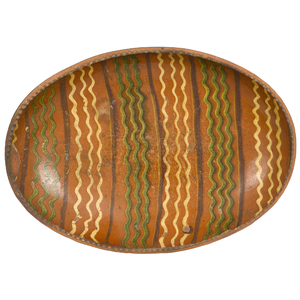 American redware oval loaf dish, mid 19th c., with