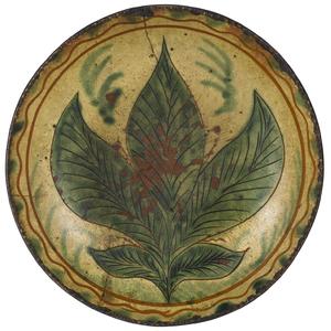 Southeastern Pennsylvania sgrafitto redware dish,a