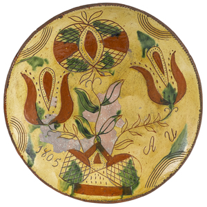 Pennsylvania sgrafitto redware charger, dated 1805