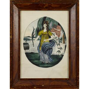 New England watercolor portrait of Liberty, inscri