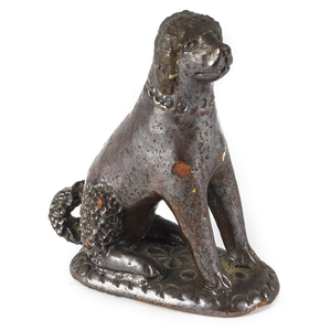 Pennsylvania redware seated spaniel, 19th c., with