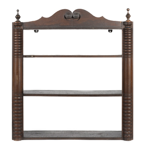 Fanciful Pennsylvania painted pine hanging shelf,a