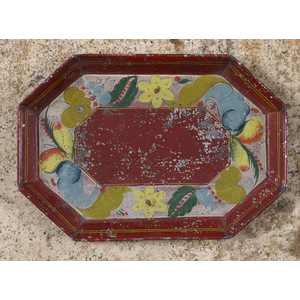 Pennsylvania red tole tray, 19th c., 8 3/4