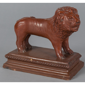 Redware figure of a lion, early 20th c., probablyn
