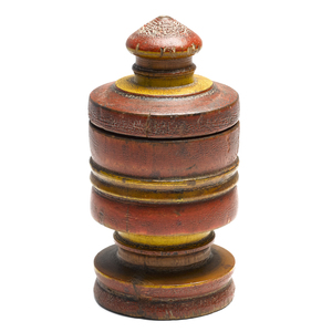 Turned and painted lidded wood canister, 19th c.,e
