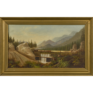 American oil on canvas landscape depicting a steam