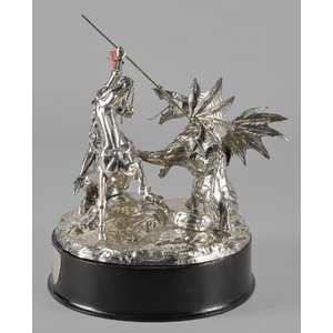 English silver sculpture of Saint George slaying t
