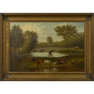 Pennsylvania oil on canvas landscape, late 19th c.