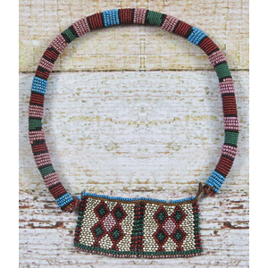 Early Native American seed bead rope necklace, tog