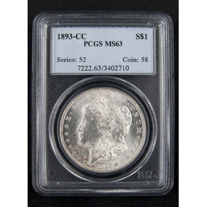 Silver Morgan dollar coin, 1893 CC, PCGS MS-63.
