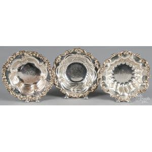 Three similar sterling silver serving bowls, appro