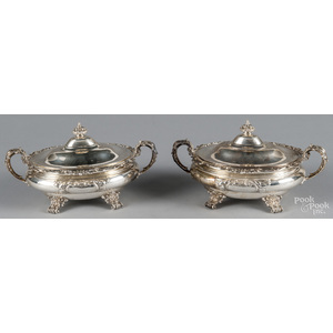 Pair of Gorham sterling silver covered vegetables,
