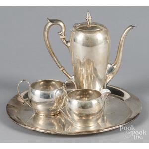 Watson sterling silver four-piece tea service, 38.