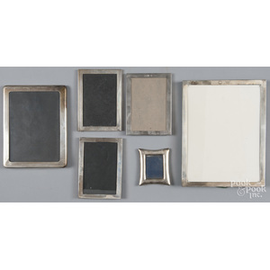 Six sterling silver picture frames, the smallest b