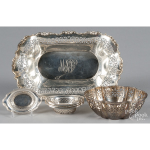 Group of sterling silver reticulated bowls, larges