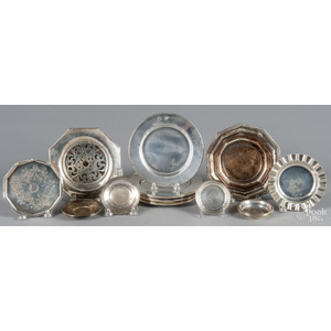 Group of small sterling silver plates/dishes, 51.9