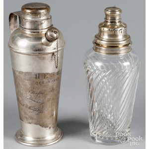Hawkes sterling silver and glass cocktail shaker,