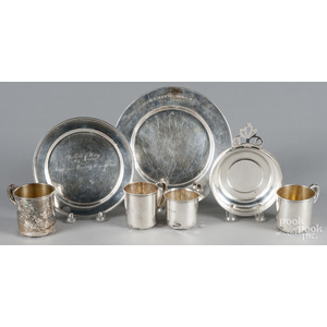Sterling silver, to include four child's cups, 26.