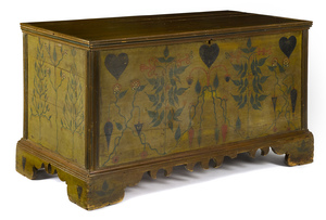 Painted poplar blanket chest, early/mid 19th c., p