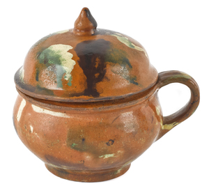 Pennsylvania redware sugar bowl with a cover, earl