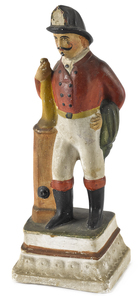 Chalkware figure of a fireman, 19th c., holding ap