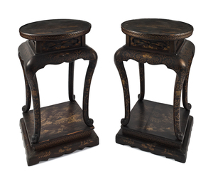 Pair of China Trade gilt lacquer stands, ca. 1840,