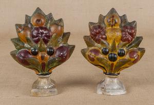 Pair of painted chalkware fruit garnitures, 19th c
