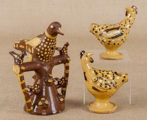 Three English redware bird whistles, tallest -9 3/