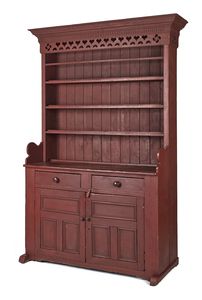 Canadian painted pine stepback cupboard, early 19t