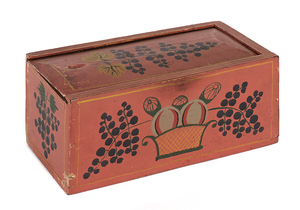 Pennsylvania painted poplar slide lid candlebox, l