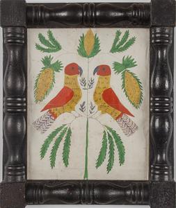Pennsylvania watercolor folk art drawing of two pa