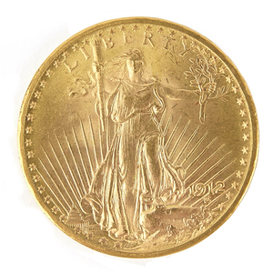 1912 $20 Saint Gaudens gold coin, uncirculated.