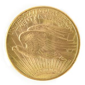 1912 $20 Saint Gaudens gold coin, uncirculated.