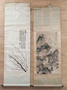 Two Chinese watercolor scrolls